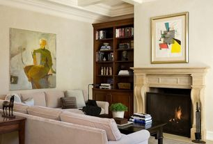 Traditional Living Room with Built-in bookshelf, Rowan Classic Series Stone Fireplace Surround, Box ceiling, Concrete tile