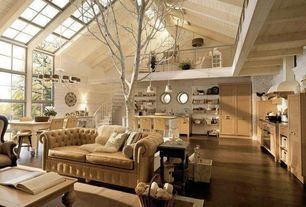 Eclectic Great Room with Pendant light, Loft, Hardwood floors, Skylight, picture window, Cathedral ceiling, Chandelier