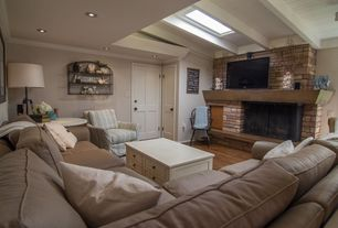 Cottage Living Room with Skylight, interior wallpaper, Pacific ledge stone cordovan flats handy pack manufactured stone