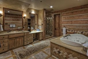 Rustic 3/4 Bathroom with Carpet, Stone Tile, Complex marble counters, Undermount sink, Pental Barroca Soapstone, Jetted
