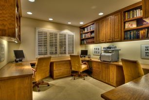 Craftsman Home Office with Built-in bookshelf, Carpet