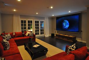 Contemporary Home Theater with Crown molding, Hardwood floors, Paint, French doors, can lights, Standard height