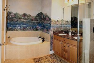 Eclectic Full Bathroom with Double sink, Ms international sunny light limestone, Simple granite counters, Raised panel, Mural