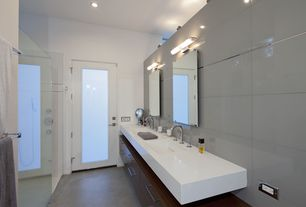 Contemporary Full Bathroom with wall-mounted above mirror bathroom light, Standard height, Powder room, Simple Marble, Shower