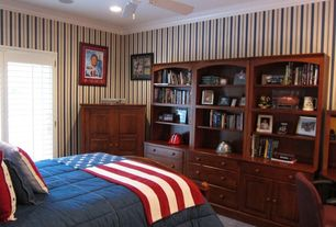 Country Guest Bedroom with interior wallpaper, Crown molding, Ceiling fan, Carpet, Glass panel door