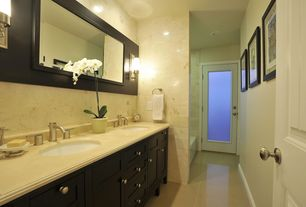 Modern Master Bathroom with Master bathroom, Undermount sink, Wall sconce, Double sink, Inset cabinets, Complex Marble