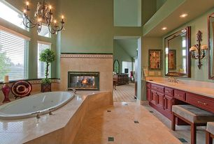 Traditional Master Bathroom with Raised panel, Master bathroom, partial backsplash, Concrete tile , Simple marble counters