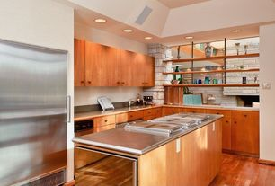 Traditional Kitchen with Stainless steel counters, Undermount sink, Wood counters, Built-in bookshelf, Flush, Hardwood floors