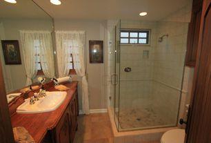 Cottage 3/4 Bathroom with Rain shower, specialty door, Wood counters, frameless showerdoor