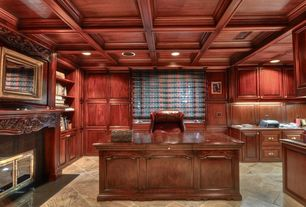 Traditional Home Office with Box ceiling, Built-in bookshelf