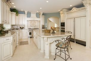 Traditional Kitchen with Casement, Paint 1, full backsplash, wall oven, Raised panel, Standard height, double oven range