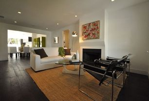 Modern Living Room with Natural Fiber Light Brown Area Rug, stone fireplace, Wassily chair, Hardwood floors