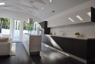 Contemporary Kitchen with Simple marble counters, Simple Marble, Corian Solid Surface Countertop Glacier White, Flush, Paint1