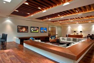 Contemporary Living Room with Exposed beam, Sunken living room, Hardwood floors, Crate and Barrel Taraval Sectional