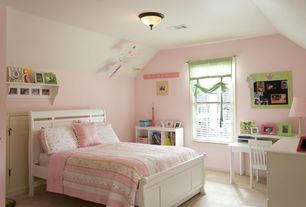 Country Kids Bedroom with no bedroom feature, Carpet, Art desk, flush light, double-hung window, High ceiling