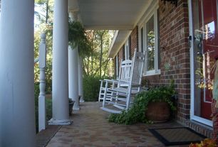 Country Porch with French doors, Wrap around porch, exterior stone floors