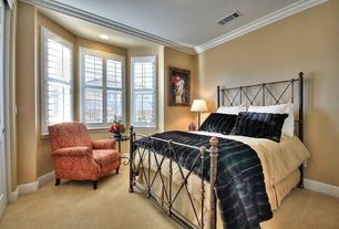Modern Guest Bedroom with Carpet, Bay window, Crown molding