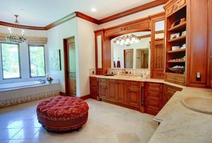 Traditional Full Bathroom with drop in bathtub, Chandelier, Bathtub, Crown molding, Inset cabinets, Raised panel, flat door