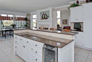 Gray kitchen simple granite counters kitchen island chandelier standard height - Kitchen island height standard ...