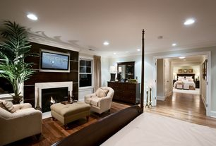 Traditional Guest Bedroom with Crown molding, Hardwood floors