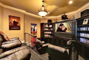 Modern Home Theater with Crown molding, Built-in bookshelf, flush light, can lights, Carpet, High ceiling