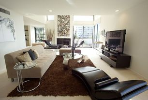 Contemporary Living Room with Transom window, Carpet