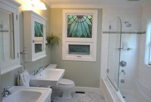 Cottage 3/4 Bathroom with simple marble floors, Shower, Painted wood panel wall, Crown molding, Stained glass window, Paint