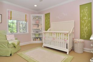 Traditional Kids Bedroom with Casement, Carpet, Standard height, Crown molding, no bedroom feature, can lights, Ceiling fan