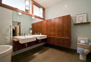 Contemporary Master Bathroom with Wood counters, Double sink, Master bathroom, stone tile floors, Casement, Towel warmer