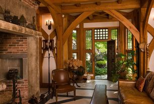 Rustic Entryway with Leather couch, Brick wall, stone tile floors, Paint, Window entryway, picture window, Exposed beam