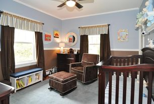 Modern Kids Bedroom with Chair rail, Valetti chocolate normandy glider recliner, Ceiling fan, Crown molding, Window seat