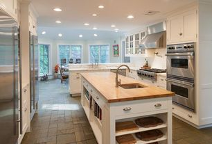 "Traditional Kitchen with Emser Tile Natural Stone 12"" x 12"" Honed Slate Field Tile in Copper, Flat panel cabinets, U-shaped"