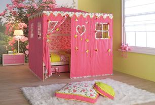 Contemporary Kids Bedroom with interior wallpaper, Hardwood floors