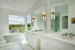 Contemporary Master Bathroom with Undermount sink, Hudson Valley Lighting Two-Light Cylindrical Sconce, Master bathroom
