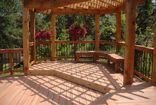 Country Deck with 12 ft. x 12 ft. Vineyard Wood Pergola, Begonia Bulbs (Hanging Basket) - Pink, Trellis