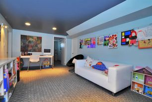Contemporary Playroom with Wall sconce, Carpet