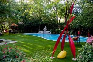 Eclectic Swimming Pool with Pathway, Other Pool Type, Fence