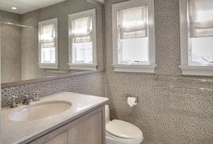 Traditional 3/4 Bathroom with European Cabinets, Flush, Undermount sink, Travertine counters, Minerale wall paper