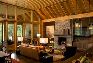 Contemporary Great Room with High ceiling, Radius Design X-Centric End Table, Hardwood floors, Exposed beam, Transom window
