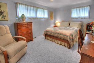 Traditional Master Bedroom with Built-in bookshelf, Crown molding, Ceiling fan, Carpet