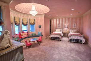 Traditional Kids Bedroom with Carpet, French empire chandelier with swarovski crystal 30-36, interior wallpaper, Chandelier