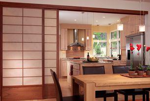 Contemporary Dining Room with Pendant light, Standard height, can lights, Laminate floors, Shoji sliding door kit