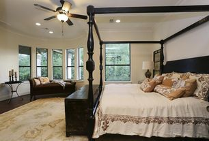 Traditional Master Bedroom with Ceiling fan, Crown molding, can lights, Hardwood floors, double-hung window, Standard height
