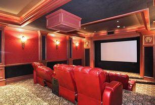 Traditional Home Theater with Crown molding, Columns, Wall sconce, Carpet