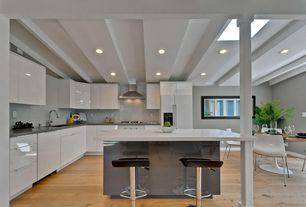 Contemporary Kitchen with Undermount sink, Super White 4 in. x 12 in. Glass Wall Tile, Breakfast bar, Kitchen island, Flush
