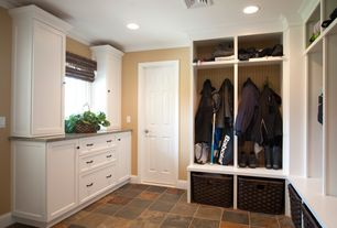 Traditional Mud Room with soapstone tile floors, stone tile floors, Crown molding, can lights, six panel door, Casement