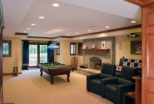 Country Basement with stone fireplace, Opulence home venice leather home theater recliner, French doors, Pendant light