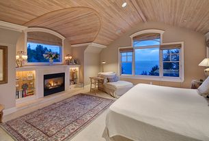 Cottage Master Bedroom with Fireplace, can lights, Standard height, Samad Sovereign Isabella ivory-cream Area Rug, Carpet