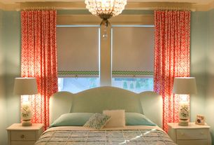 Traditional Guest Bedroom with Chandelier, Wexford Linen Robins Egg, Crown molding, Paris Flea Crystal Mini Chandelier