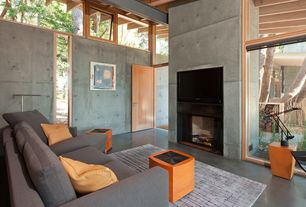 Contemporary Living Room with Exposed beam, specialty door, Moooi Clip Armchair, Interior concrete wall, High ceiling